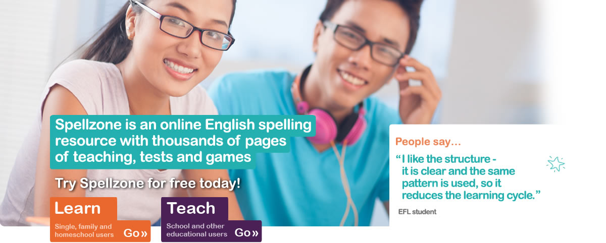 Spellzone is an online English spelling course with thousands of pages of teaching, tests, resources and games