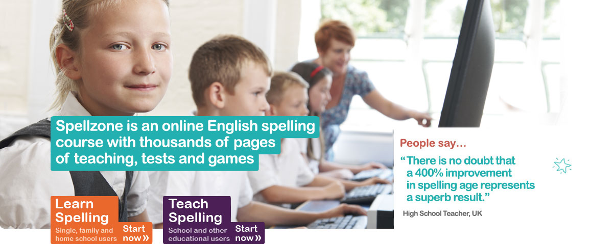 Spellzone is an online English spelling course with thousands of pages of teaching, tests and games